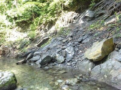 三波川(結晶片岩の崩壊斜面)